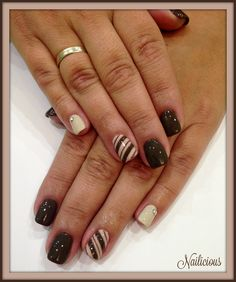 Dark Brown & Nude Nails with Stripes