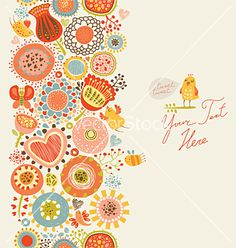 Floral pattern with funny birds and insects vector 1079597 - by annaguz on VectorStock®