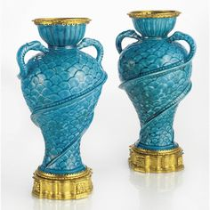 c1725 A pair of Régence ormolu-mounted Chinese blue glazed porcelain vases the porcelain Qing dynasty, 18th century, the mounts circa 1725 25,000 — 40,000 USD LOT SOLD. 80,500 USD (Hammer Price with Buyer's Premium)