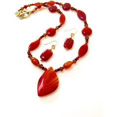 Red Agate Pendant Necklace Earrings Set, Semi Precious Stones Beaded... ($40) ❤ liked on Polyvore featuring jewelry, beaded jewelry, agate jewelry, beading jewelry, handmade beaded jewelry and semi precious stone jewelry