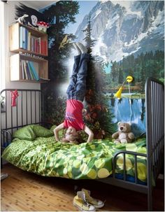 Mountains on the wall, great for a boy who loves adventure. #estella #kids #decor