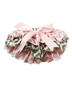 Love this Pink & Gray Chevron Ruffle Bloomers - Infant by Dress Up Dreams Boutique on #zulily! #zulilyfinds