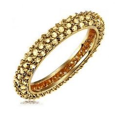 CZ Diamond Ring Pave Gold Vermeil Stackable Eternity Bridal Band