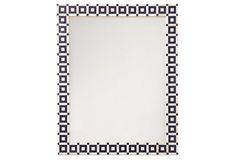 "Geo Bone Wall Mirror, Navy, 34.5""w x 27.75""h x 1""d, navy/ivory, 35 lbs, $275"