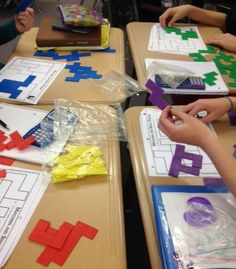 Math Learning Stations with Circles, Tangrams, and Pentominoes