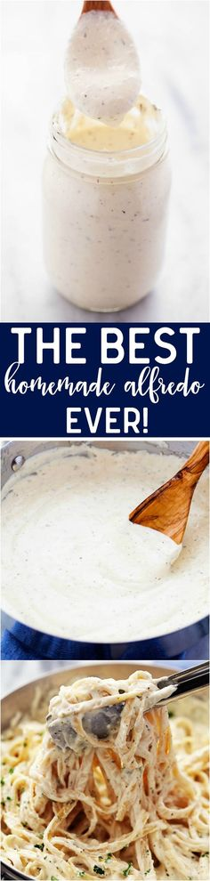 The most creamy and delicious homemade alfredo sauce that you will ever make! This is a tried and true recipe and you will agree that it is the best recipe out there!: