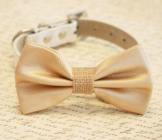 Champagne and burlap Dog Bow Tie, Burlap Wedding, Pet Accessory, Birthday Gift, Dog Lovers, Burlap Pet wedding accessory