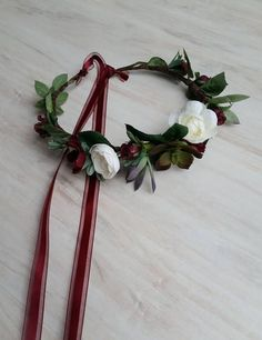 Bridal wedding burgundy flower crown created with artificial green succulents and accents of other silk flowers in ivory, wine and burgundy, with greenery. Bridal party hair wreath accessories headpiece for everyday hair fashion, and accessories. Ready to ship. Attached ribbon ties in the back making my halo fully adjustable to any size head, adult or child. If you need a baby, infant, toddler or little girl size, please type that in note to seller at checkout. You may also request any color…