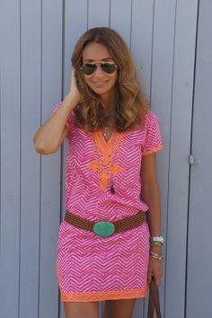 pink orange moroccan tunic dress - maria barros