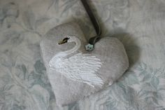 If you are looking for a truly special touch to your home or a gift, this heart is ideal.Beautifully handmade lavender heart with an exquisite embroidered white swan.This design has been em. White Swan, Handmade Design, Soft Furnishings, Lavender, Coin Purse, Bee, Hearts, Touch, Christmas Ornaments