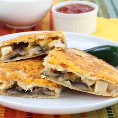 These quesadillas are filled with sauteed onions and mushrooms and simple chicken breast. A favorite with the kids.. Chicken Mushroom Quesadilla Recipe from Grandmothers Kitchen.