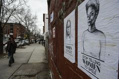 "Posters on a wall on Tompkins Avenue in Bedford-Stuyvesant, Brooklyn, try to make the point that some comments to women aren't welcome. ""These things make you feel like your body isn't yours,"" the artist says."