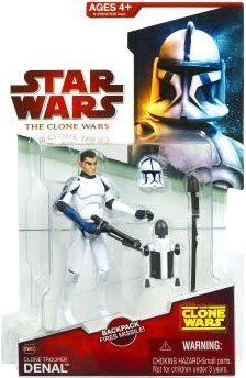 "Star Wars 2009 Clone Wars Animated Action Figure CW-20 Clone Trooper Denal by Hasbro. $29.95. Star Wars: The Clone Wars 3 3/4"" animated action figure line from Hasbro. For Ages 4 & Up. Clone Trooper Denal is figure # CW20. Denal is part of a mission to destroy a Separatist listening post. He and the team use rocket packs to reach the post. The clone trooper battles deadly droids and, although injured, helps Captain Rex reach the reactors and plant thermal detonators."