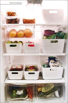 Neatly stacked fridge.