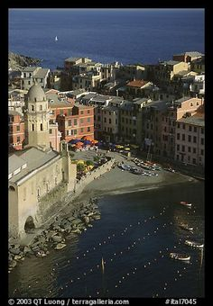 Church, harbor, and beach seen from above, Vernazza. Cinque Terre, Liguria, Italy (color)