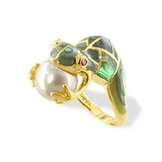 Yellow Gold Effy Frog Ring with Tsavorite and Diamonds Rings