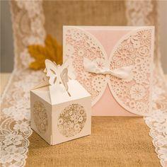 Romantic Floral Laser Cut Wedding Favour Boxes
