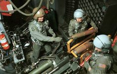 AC-130 gunner | Red barrel of the 105-mm Howitzer visible on an AC-130 gunship