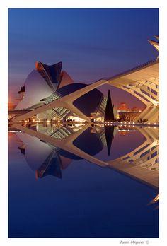 Reflejo nocturno en la CAC City of Arts and Sciences of Valencia, Spain by Photographer Juan Miguel Llopis Cervera