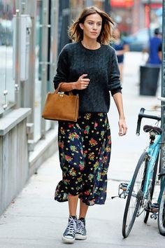 Alexa Chung Repurposes Her Summer Midi Dress For Fall | The Zoe Report