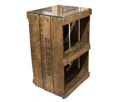 Pallet bedside table w glass