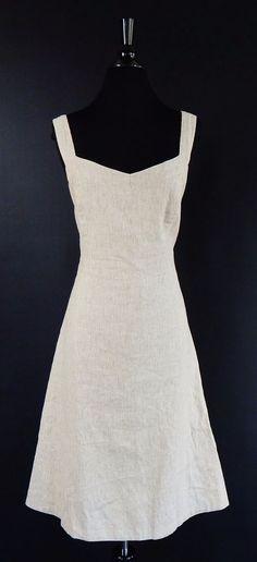 BARNEYS NEW YORK Beige White Stripe Linen Blend Summer Tank Dress Size 40 #BarneysNewYork #Sundress #Casual