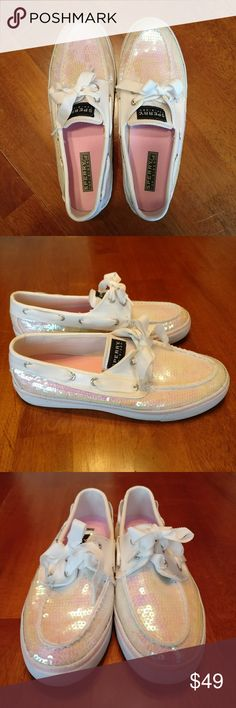 Sperry Top-Sider Sequin Boat Loafers Shoes Sperry Top-Sider Boat Shoes/ Loafers.  White & pink iridescent sequins with ribbon-like shoelaces.  Super cute and in very clean condition!  Bottom of soles show a bit of wear, see photos.  Women's size 7.5 Sperry Top-Sider Shoes