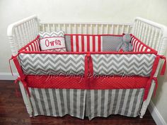 Custom Baby Bedding Set Gray Chevron w/ Red and Gray Stripes on Etsy, $330.00