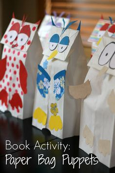 """Paper Bag Owl Puppets- A perfect follow up for """"The Little White Owl"""". {Reading Confetti}"""