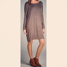 """COMING SOON: """"A Better Place"""" piko dress featured in tobacco brown."""