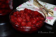 Visine conservate cu aspirina ~ Bucataria Irinei... Raspberry, Gem, Food, Aspirin, Canning, Embroidery, Essen, Jewels, Meals