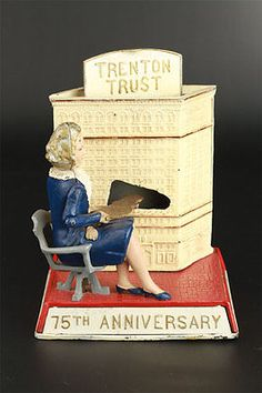 Trenton Trust Mary Roebling Cast Iron Mechanical Bank