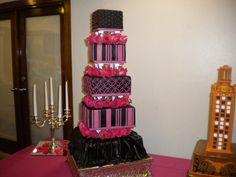 Fuchsia & Black Wedding Cake