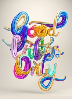 Good Vibes Only - Typography by Ben Fearnley, via Behance Motion Design, Typography Letters, Hand Lettering, Typographie Fonts, Tableaux D'inspiration, Typographie Inspiration, Logo Design, Graphic Design, Canvas Prints