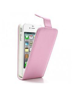 Δερμάτινη Θήκη Flip με Εσωτερικές Θήκη για Κάρτες για iPhone 4 4S - Ροζ