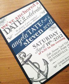 "Nautical Wedding Invitation. $3.25, via Etsy. For our ""reception"" in WA post wedding... end of FEB???"