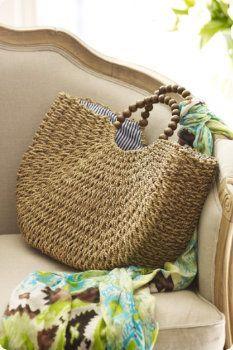Seagrass Bag - Beach Bag, Tote, Wood-bead Handles, Saving this for the shape Bag Crochet, Crochet Handbags, Bowling Bags, Basket Bag, Beach Tote Bags, Summer Bags, Soft Surroundings, Handmade Bags, Straw Bag