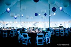 Navy Blue & White Tented Wedding