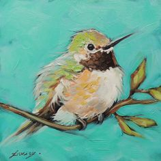 Small and colorful 5x5 inch original oil painting of a sweet Hummingbird on a branch. Put a pop of color anywhere! Makes a unique and affordable gift. Small wooden easel included! Archival Ampersand Gessobord is 1/8 thick. These small paintings are best displayed on an decorative easel or can be easily and inexpensively framed using a standard photo frame. Artwork is photographed and the image is adjusted to match the original painting as close as possible. copyright 2014 Andrea Laver...