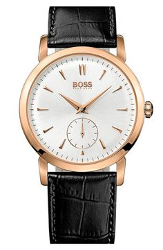 Black croc print : BOSS HUGO BOSS Round Leather Strap Watch, 40mm available at #Nordstrom