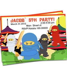 Ninjago Invitation personalized ETSY Digital card for personal use. $10.99, via Etsy.
