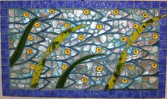 Mosaic, Stained Glass Abalone Paua Bluefish School, Ocean, Fish, Blue. $175.00, via Etsy.