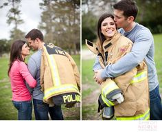 Firefighter wedding engagement pictures...cute idea, change out for a military man too would be fun to see tanner try on my jacket haha