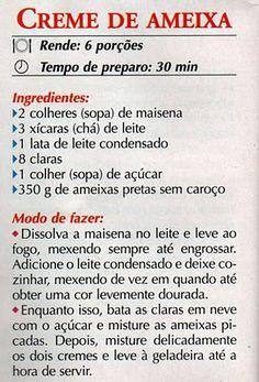 RECEITA DE CREME DE AMEIXA
