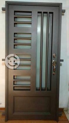 Window Grill Design Modern, Grill Door Design, Steel Door Design, Exterior Door Designs, Room Door Design, Door Design Interior, Iron Gate Design, Metal Gates Design, Front Gate Design