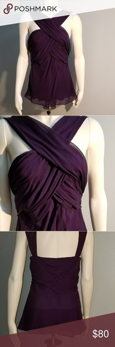 "Diane Von Furstenberg Crepe Nikki Purple Top Diane Von Furstenberg top, criss cross draped front and back. Sleeveless and lined. Runs small.   Size: 10 Color: Purple (Plum) Worn once, excellent condition 100 % Silk Length 28"" (Shoulder to hem) Length 18"" (Underarm to hem) Chest across 16 1/2""  Measurements are taken as follows:   Chest ~ laid flat, no stretching, underarm to underarm.  Length:  laid flat, measured from waistband (skirts/pants) or shoulder to bottom front hem (tops/dresses)…"
