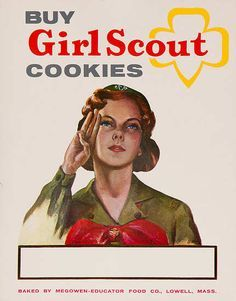 Selling Girl Scout Cookies in the 1950's. They were only 35 cents a box back then.