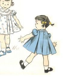 $13.  Advance 6990 Vintage 50s Toddlers Adorable Inverted Pleat Dress - Round Yoke & Baby Collar - Lace Trim Sewing Pattern Size 1