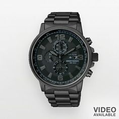 Citizen Eco-Drive Nighthawk Stainless Steel Black Ion Chronograph Watch