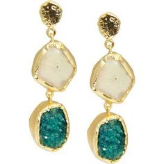 "Crafted of green and white druzy gemstones and showcasing a 22-karat gold-plated trim, these bold earrings add a shimmering touch to your work ensemble and little black dress alike.  Product: Pair of earringsConstruction Material: 22k Gold plated brass and druzyColor: Green and whiteDimensions: 2"" DropCleaning and Care: Wipe with dry cloth"